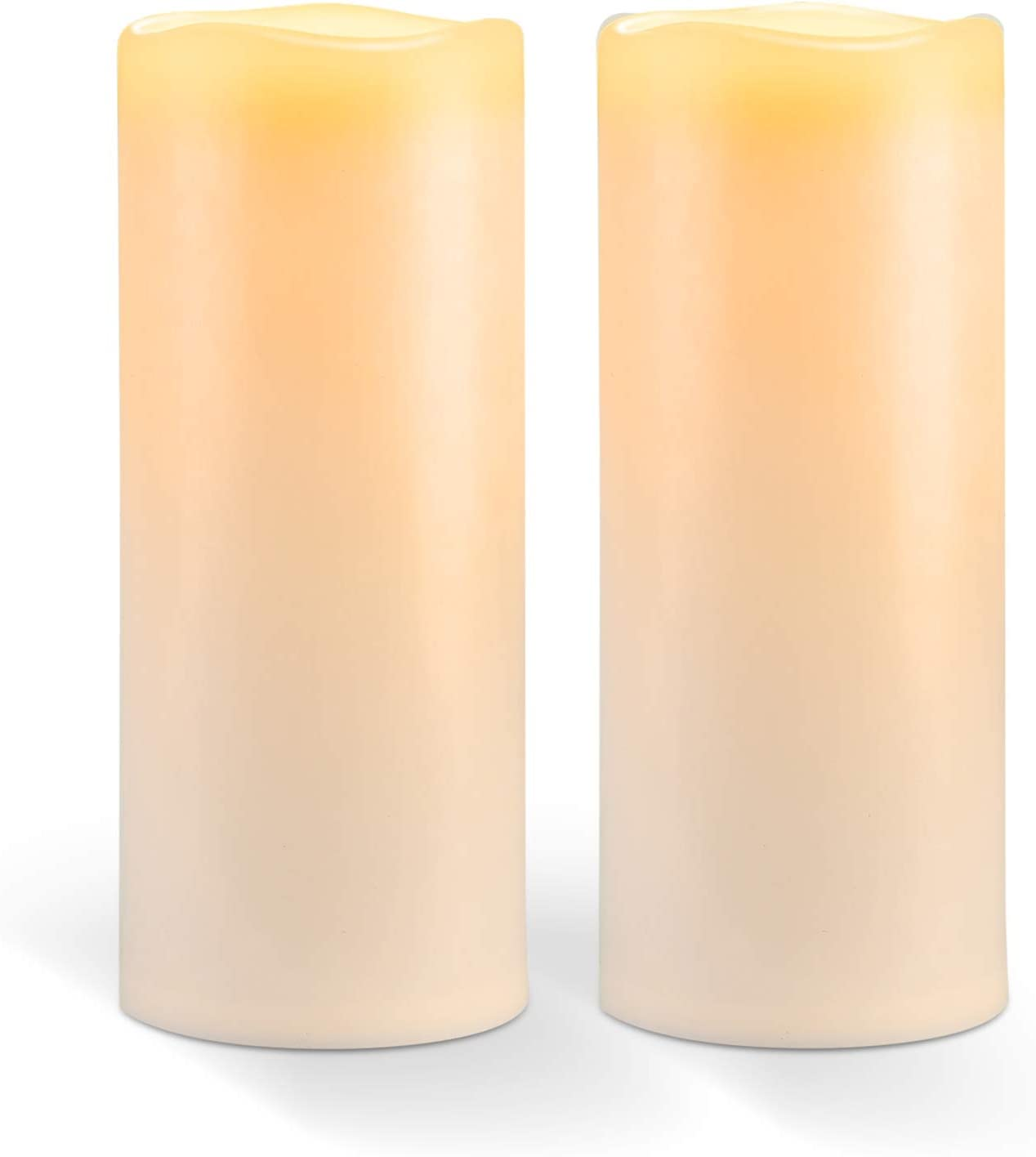"""Amagic 10"""" x 4"""" Outdoor Waterproof Candles, Battery Operated Large Flameless Candles with Timer, Won't melt, Long-Lasting, Ivory, Set of 2"""