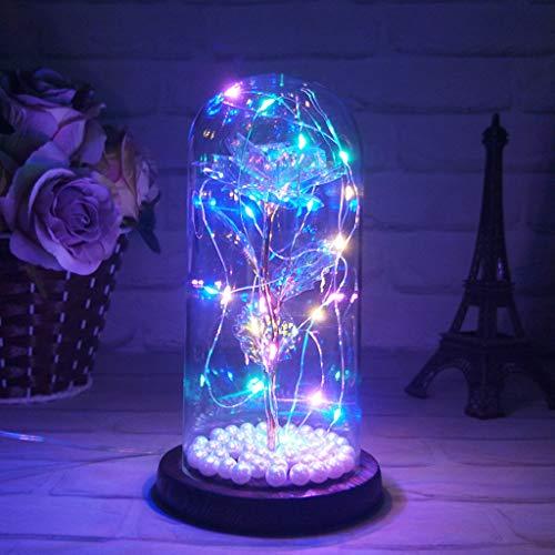 Risaho Enchanted Red Silk Rose Licht Muttertagsgeschenke LED-Licht in Glaskuppel auf Holzsockel Für Dekoration Geburtstag Hochzeit Valentinstag Muttertag Weihnachten Geschenke (A)