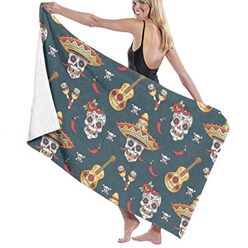 Ciuaole Bath Towels Classic Luxury Cotton Premium Quality Wshcloths Towel Happy Halloween Floral Sugar Skulls Print