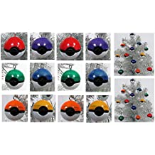 """Pokemon MINI 12 Piece POKE BALL Multi Colored Ornament Set - Unique Shatterproof Plastic Design 1"""" by 1"""""""