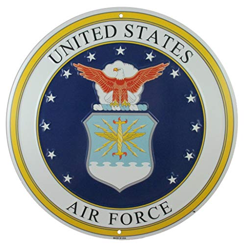 Logo Wall Decor - Tags America United States Air Force Logo Metal Sign, 12 Inch Round Embossed Aluminum Emblem, US Military Service Branch Wall Decor
