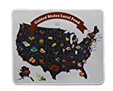 12x10 Inch US State Food Map Student Funny Office Mouse Pad Non Slip Rubber Mouse mat