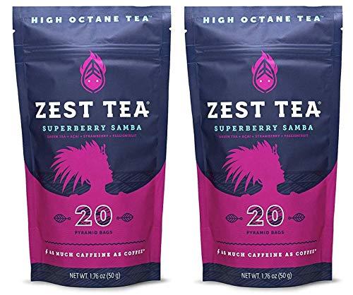 Zest Tea Energy Hot Tea, High Caffeine Blend Natural & Healthy Black Coffee Substitute, Perfect for Keto, 135 mg Caffeine per Serving, 40 Sachets (2 Pouches), Superberry Samba Green Tea