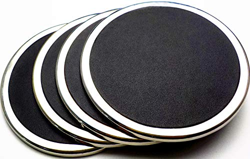 YouShop Luxury Coasters for Drinks - Premium Metal, Black Leather, Velvet Base | Contemporary & Clean Style, Modern Coaster Set for Home Decor, Living Room, Kitchen | Protect Furniture by YouShop (Image #2)