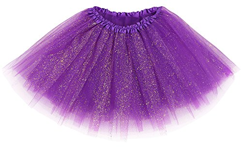 Simplicity Women's Running Races Tulle Ballet Tutu Skirt, Dark Purple Sequin -