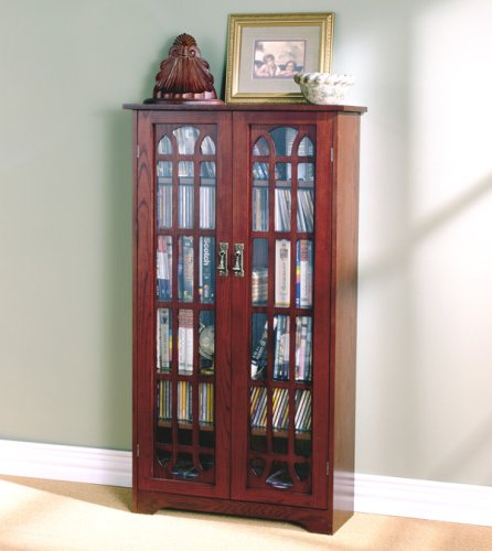 Window Pane Media Cabinet - Cherry