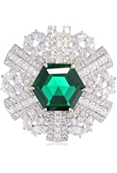 "CZ by Kenneth Jay Lane ""Deco"" 40cttw Multi-Cubic-Zirconia Octagon Wheel Deco Pin, 32 CTTW"