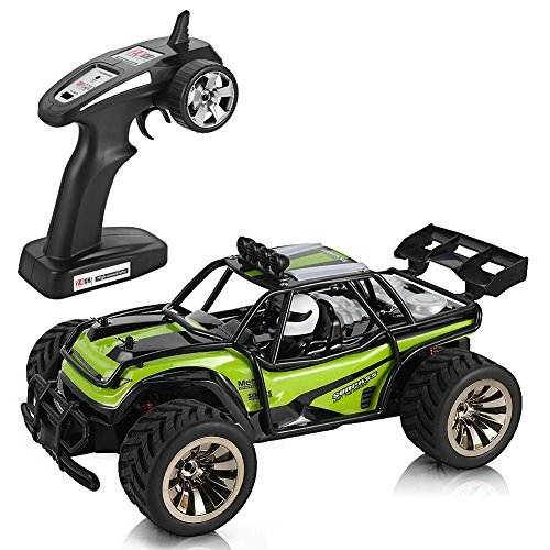 FidgetKit Electric Offroad RC Car, 1:16 Scale RC Desert Dune Buggy Vehicle, 2WD 15KM/H High Speed 2.4GHz Remote Control Monster Truck (Green) ()