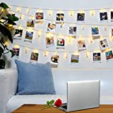 teenage girl room 40 LED Photo Clips String Lights – 8 Modes Wall Hanging Clothespin Picture Display Peg Card Holder, Girl Back to School Dorm Room Décor Essential, Birthday Party Halloween Christmas Decorations Gifts