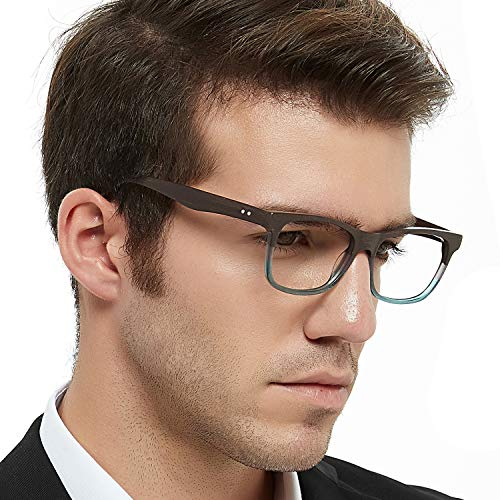 2113e15f806 OCCI CHIARI Rectangular Stylish Acetate Frame Non-prescription Fashion  Clear Lens Eye Glasses Designer For