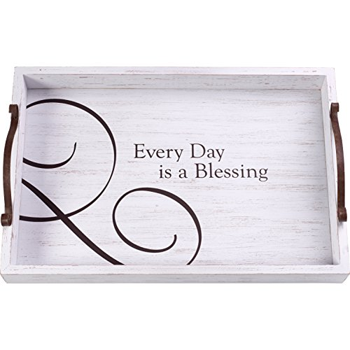Precious Moments Every Day is A Blessing Rustic Farmhouse Distressed 12 X 8 Wood & Metal Decorative Home Decor Serving Tray 173436