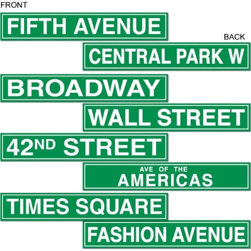 New York Themed Party Costume (Beistle 50094 4-Pack NYC Street Sign Cutouts, 4-Inch by 24-Inch)