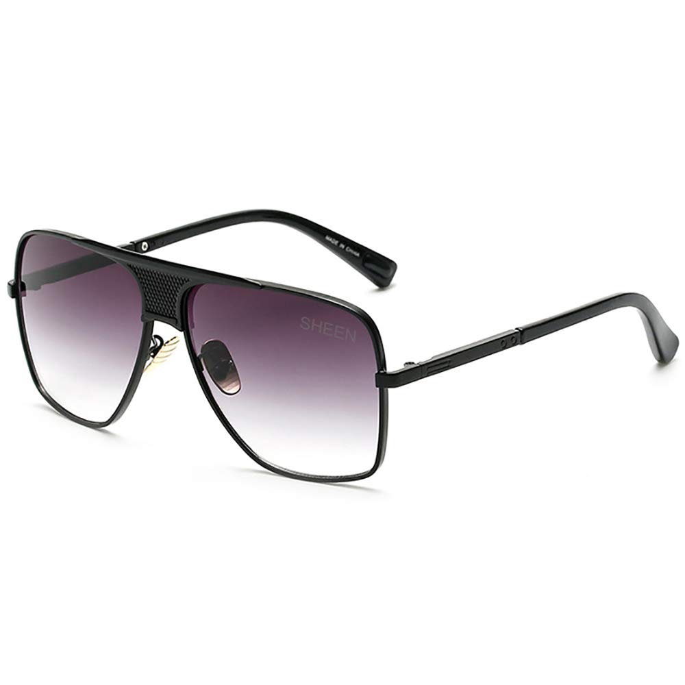 439673f5d3 Retro Oversized Pilot Sunglasses For Men Women Vintage Black Metal Frame  Mirror Lens Designer Square Gradient  Amazon.co.uk  Clothing