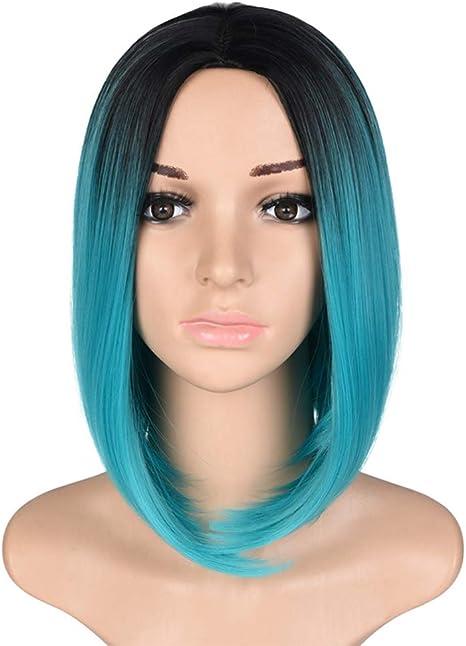 Moda chica tinte corto peluca de pelo recto oscuro azul ...