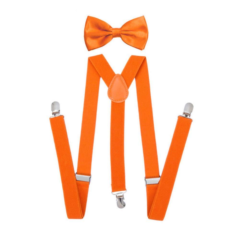 yanbirdfx Solid Color Unisex Clip-on Elastic Y-Shape Adjustable Suspenders Bowtie Set - Orange