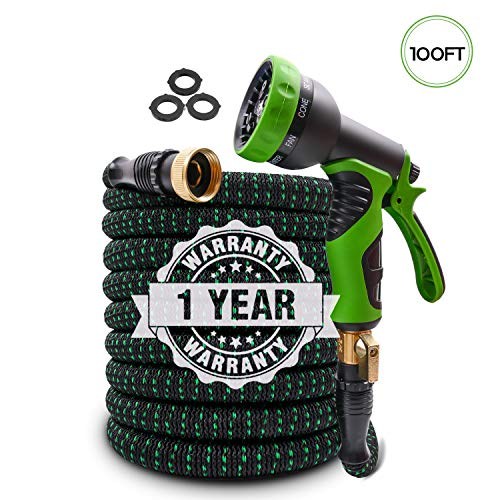 2020 Upgraded Expandable Garden Hose 100ft Retractable Water Hose Flexible Garden Hose with 3/4″ Solid Brass Connectors, 9 Modes Spray Nozzle, Ideal Choice for Watering and Washing