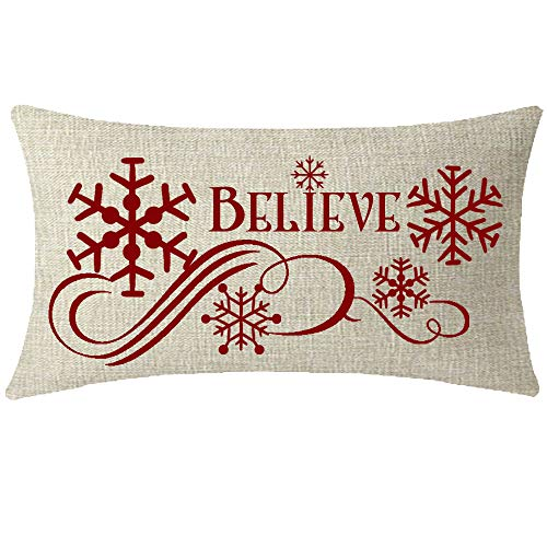 NIDITW Happy Holiday Joy Peace Love and Merry Christmas Believe Snowflakes Cotton Linen Throw Pillowcase Cushion Cover Sofa Chair Decorative Long Rectangular 12x20 Inches