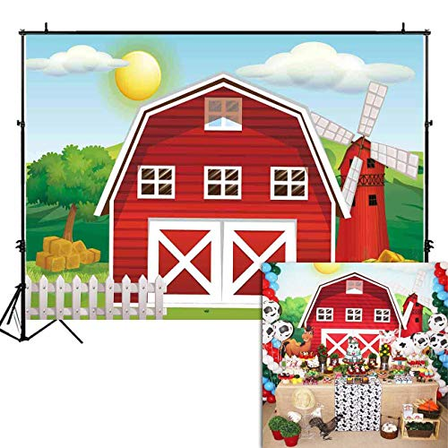 Funnytree 7x5ft Cartoon Red Farm Animals Party Backdrop Children Birthday Background for Photography Decorations Photobooth Banner Photo Studio Props