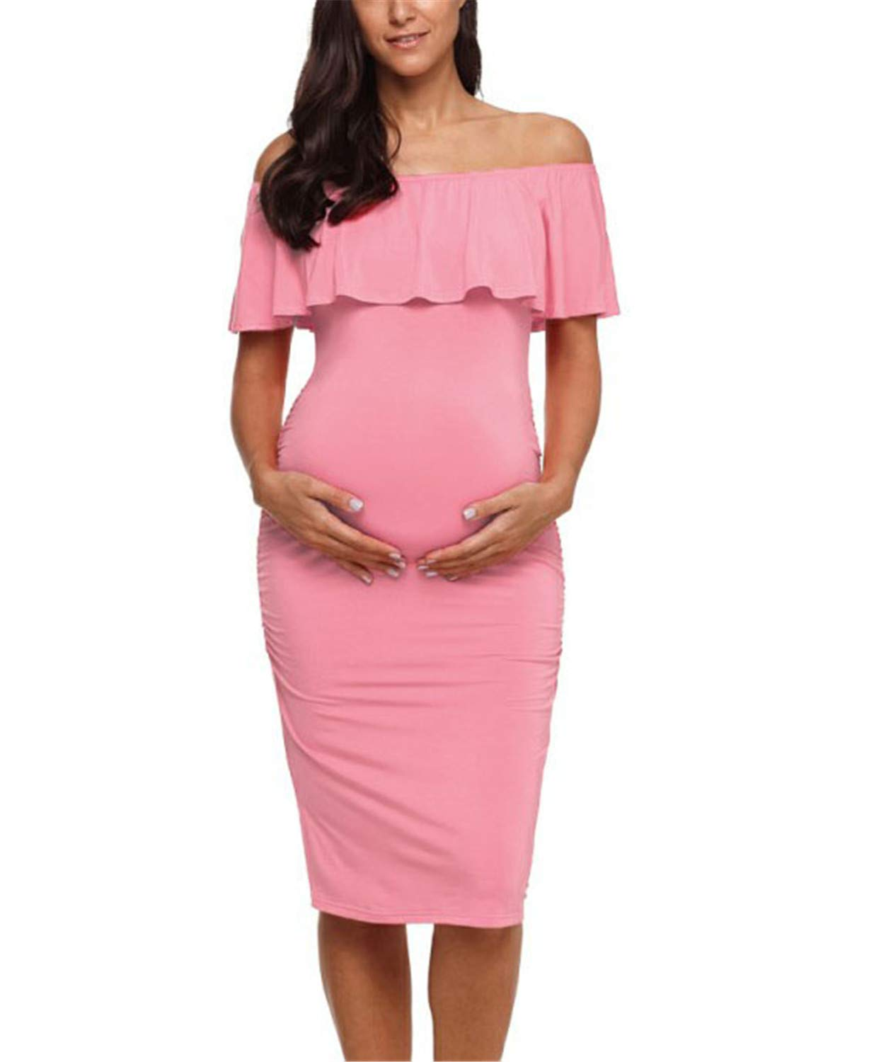 Womens Maternity Dresses Ruffle Off Shoulder Ruffles Pregnancy Ruched Sides Knee Length Bodycon Dresses