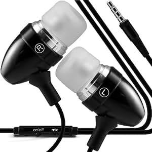 Wiko Darkfull Dual-SIM superior de la calidad en auriculares de botón estéreo de manos libres de auriculares Auriculares con micrófono Mic y botón de encendido-apagado Negro por Fone-Case