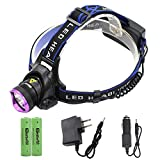 LED Headlamp - Genwiss Super Bright Head Lamp 5000 lumen Headlight XML T6 3 Modes Waterproof Torch with Rechargeable Batteries, USB Cable, Car Charger, Wall Charger for Camping Biking Hunting