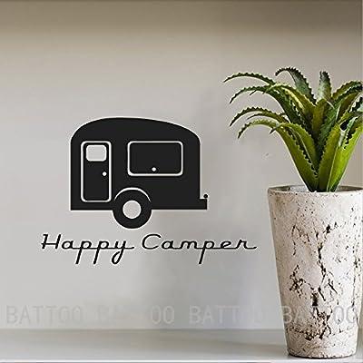 BATTOO Happy Camper Retro Travel Wall Decal Sticker Car Computer Sticker Vinyl Wall Art Decal