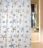シャワーカーテン 防水防カビ加工 カーテンリング付属 貝とヒトデ A021009AA