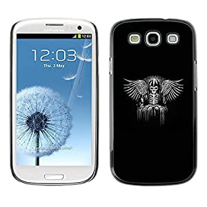 A-type Colorful Printed Hard Protective Back Case Cover Shell Skin for SAMSUNG Galaxy S3 III / i9300 / i747 ( Black Wings King Throne White Angel )