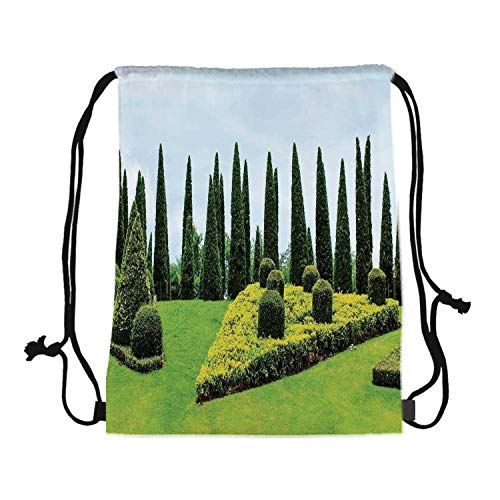 Country Home Decor Canvas Drawstring Bag,Classic Formal Designed Garden With Evergreen Shrubs Boxwood Topiaries for Travel Shopping,One_Size