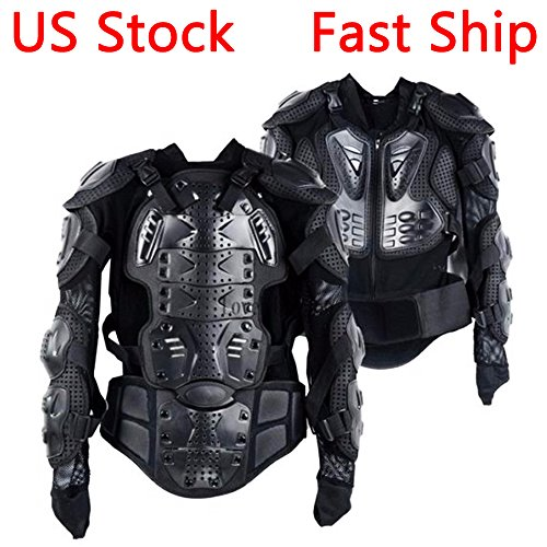 Atv Sport Body - LEAGUE&CO Motorcycle Full Body Armor Protector Pro Street Motocross ATV Guard Shirt Jacket with Back Protection Black L