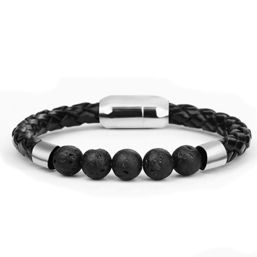 DLIAAN Armbänder Natursteine 8Mm Klassische Schwarze Leder Farbe Blau Perlen Männer Armbänder Edelstahl Verschluss Charms Armband Für Frauen Modeschmuck Geschenke 2