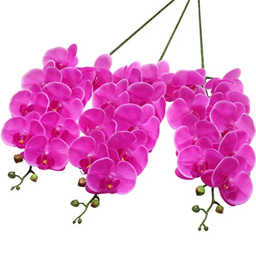 SHACOS Artificial Orchid Stems Set of 3 Real Touch Orchid 37inch Tall 9 Large Blooms Fake Phalaenopsis Flower Home Wedding Decoration (3 PCS, Purple) (Orchid Pink Artificial)
