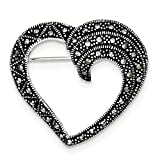 925 Sterling Silver Marcasite Heart Love Pin