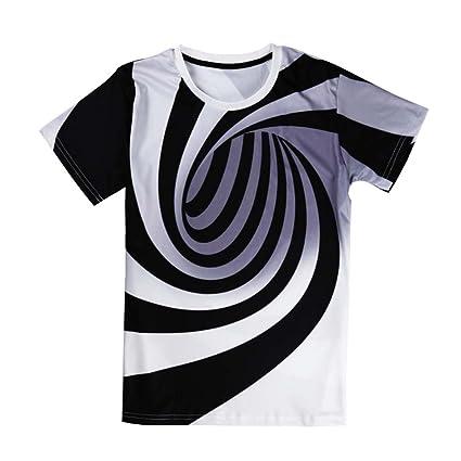 DFBDFXBSDRFB Blanco y Negro vértigo hipnótico Imprimir Camisetas Divertidas Camisetas de Manga Corta Hombres Tops Mens