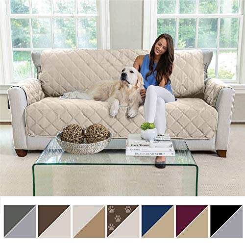 MIGHTY MONKEY Premium Reversible Sofa Slipcover, Seat Width to 70 Furniture Protector, 2 Elastic Strap, Washable Couch Slip Cover, Covers Protect Sofas from Kids, Dogs, Cats (Sofa: Beige/Latte)