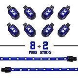 2nd Gen Single Color BLUE 8 POD 2 STRIP 60 LED Universal Motorcycle Accent Neon Underglow Light Kit