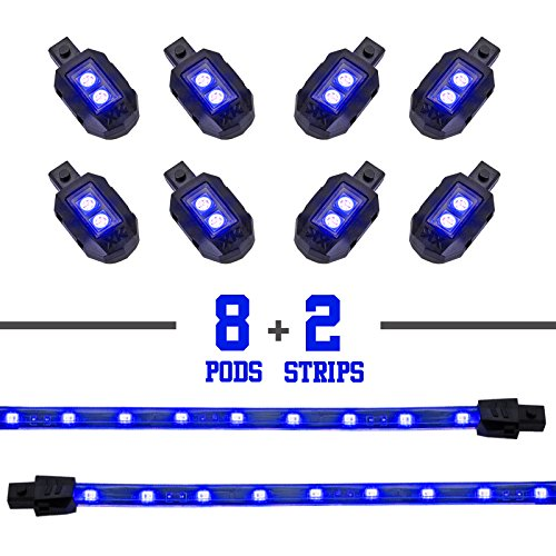 2nd Gen Single Color BLUE 8 POD 2 STRIP 60 LED Universal Motorcycle Accent Neon Underglow Light Kit ()