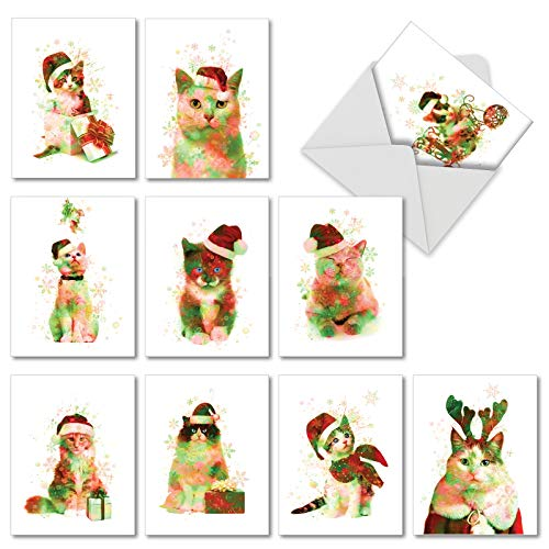 Funky Rainbow Holiday Cats - 10 Assorted Watercolor Christmas Cards with Envelopes (4 x 5.12 Inch) - Kittens, Cat Xmas Note Cards with Snowflakes - Cute Pet Animals Boxed Notecard Set AM6753XSG-B1x10