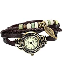 JewelryWe Men Women Lady Quartz Watches Fashion Weave Wrap around Leather Bracelet Wrist Watch 2016 New Year Valentine's Day Deal Christmas Gift (with Gift Bag)