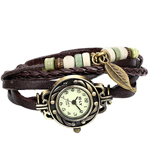 JewelryWe Women Quartz Bracelet Watch Fashion Weave Wrap around Leather Wrist Watch for Mothers Day Gift Bracelet Style Wrist Watch