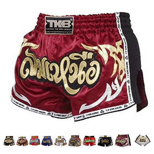 Top King Boxing Muay Thai Shorts Normal or Retro Style Size S, M, L, XL, 3L, 4L (Retro Red 2 M)