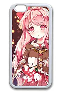 Anime Cute Girl 5 Hard Cover For iPhone 6 Plus Case ( 5.5 inch ) TPU White Cases