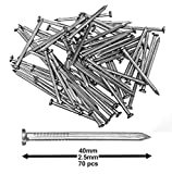 Pack of 70 Hardened Ribbed Steel Masonry Nails 2.5x40mm (1x1'-9/16')...