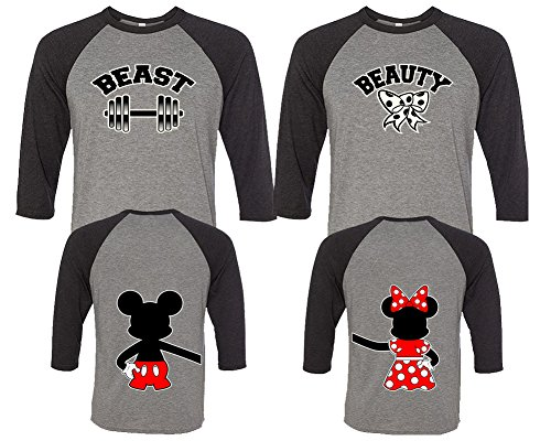 LIFESTYLE39 Beauty And The Beast Couple Shirts, His And Her Shirts, Disney Couple Shirts Black - Grey Man Medium - Woman (Disney Couples)