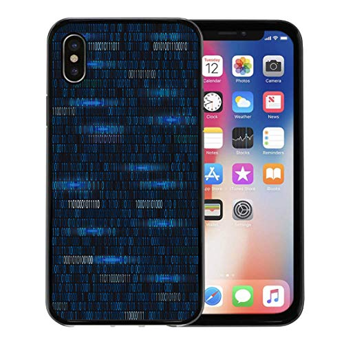 Semtomn Phone Case for Apple iPhone Xs case,Source Software Developer Programming Code Abstract Byte Programmer for iPhone X Case,Rubber Border Protective Case,Black