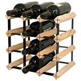 Final Touch 12 Bottle Wine Rack, Natural Finish