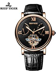 Reef Tiger Mens Tourbillon Watch with Date Day Rose Gold Black Dial Leather Strap Watch RGA191