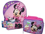 Disney Minnie Mouse Bow-tique Clubhouse Large Backpack Bag Tote and Small Lunch Bag Lunchbox, Bags Central