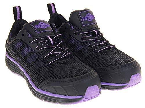 und Damen und Studio Northwest Sicherheitsschuh Violett Pink Schwarz Schwarz Territory Beniah Stahlkappe Leder Footwear tw17xHYH