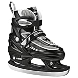 Lake Placid Summit Boys Adjustable Ice Skate, Black/White, Large 5-8